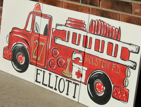triptych red vintage fire truck. 54x24 original by sincerelyYOU, $224.00