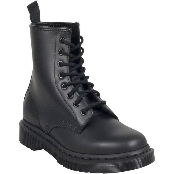 Dr. Martens Mono 1460 Women's Combat Boot ($125) ❤ liked on Polyvore featuring shoes, boots, black, laced up boots, black army boots, military lace up boots, black laced boots and black laced shoes