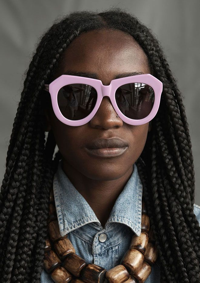 Karen Walker x Kenya Karen Walker teamed up with the UN'S Ethical Fashion Initiative to commission Kenyan artisans to make screenprinted & beaded pouches for her Summer 2014 eyewear collection. some of the artisans involved – machinists, cutters, tailors, production managers, metal workers and members of the Maasai group who create the beading work – are featured in the campaign, which was shot by photographer Derek Henderson (who also shot her previous campaigns). #fashion