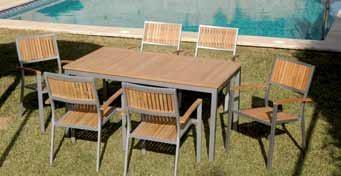 Conjunto jardín de aluminio y madera de teka, formado por 6 sillones y una mesa extensible de 150-210 x 90 cm.