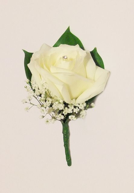 Classic Button Hole with White Rose, Hard Ruscus and Diamante Decoration | Flickr - Photo Sharing!