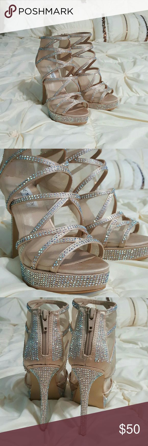 Steve Madden Strappy Platform Heels Steve Madden rhinestone heels. Mesh lining helps with comfort in holding your foot in like a bootie.  Blush colored, AB rhinestones. Looks so good on your foot! Worn once. Steve Madden Shoes Heels