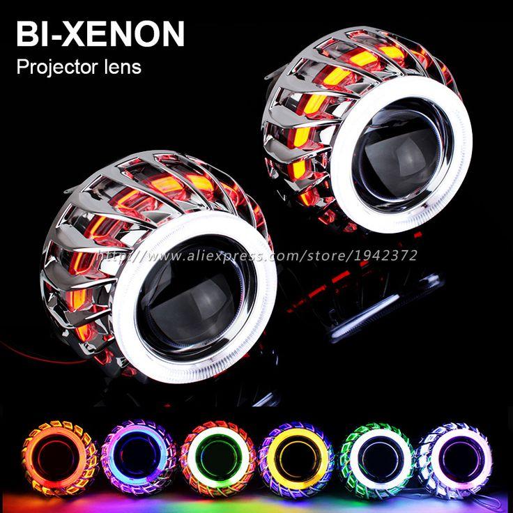 Double Angel Eyes Halo HID Bixenon Lens Projector Headlight 2.8 Inch 2 PCS Headlamp Lenses H4 H7 9005 9006 Car Styling