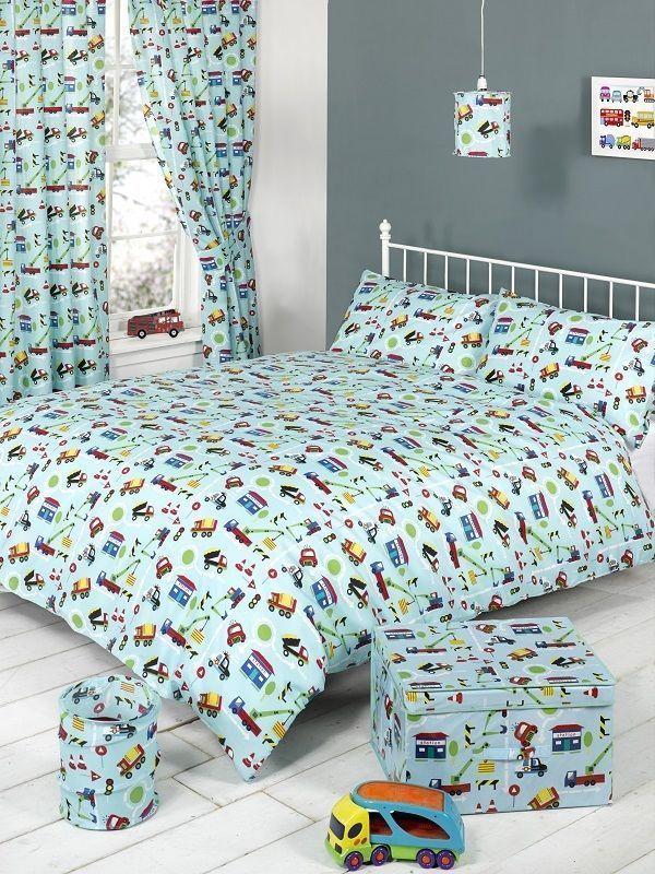 CHILDREN BOYS SINGLE BED BEDDING QUILT /DUVET COVER SET TRAFFIC CARS TRUCKS