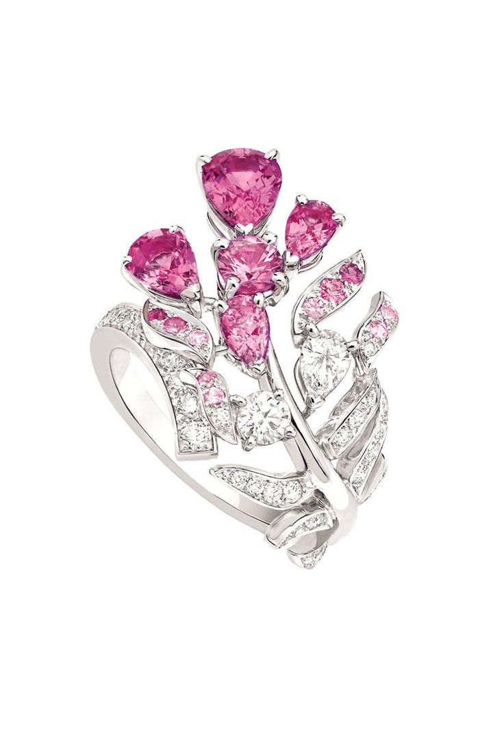 Chanel's Plume Enchantée ring in 18K white gold set with 36 brilliant-cut diamonds, one pear-cut diamond, four pear-cut pink sapphires, one brilliant-cut pink sapphire and 10 fancy-cut pink sapphires.   - ELLE.com