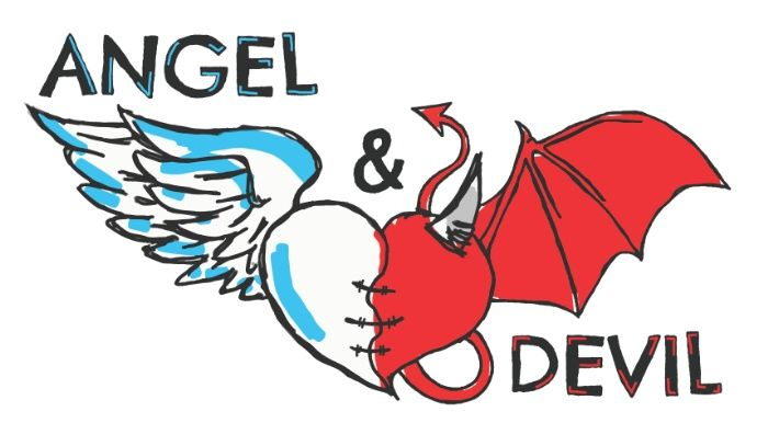 Angel & Devil Art Print  #angel #devil #demon #hell #heaven #wings #good #evil #red #white