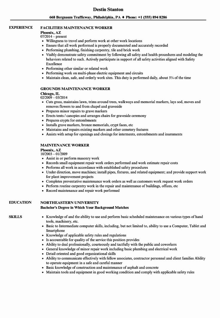 Building Maintenance Worker Resume Best Of Sample Resume