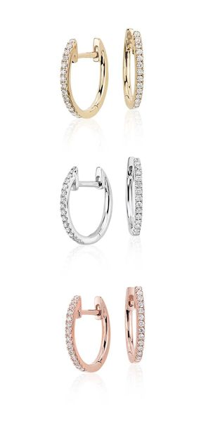 Kova&T Rose and White Gold Hoop Earrings