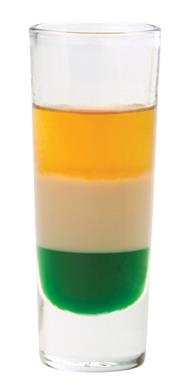 IRISH FLAG SHOT.  Equal parts green crème de menthe, Bailey's Irish cream, and Grand Marnier. Pour in order so each ingredient floats on the preceding one