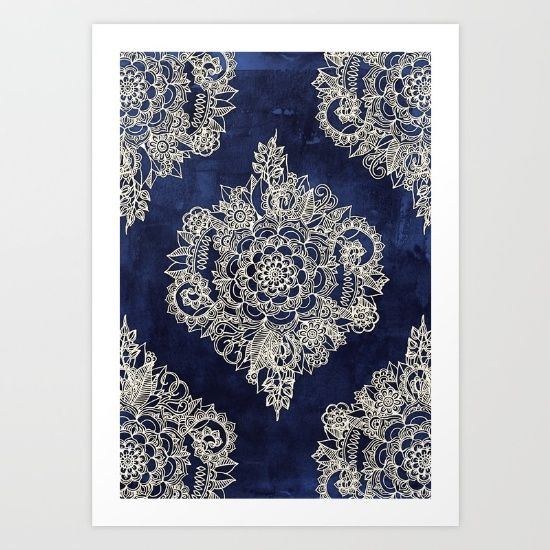 Buy Cream Floral Moroccan Pattern on Deep Indigo Ink Art Print by micklyn. Worldwide shipping available at Society6.com. Just one of millions of high quality products available.