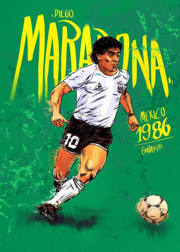 Fifa World Cup Golden Ball Winners 1986 Diego Maradona Displate Artwork By Artist Mr Jackpots Frases De Futbol Frases Motivadoras De Futbol Poster De Futbol