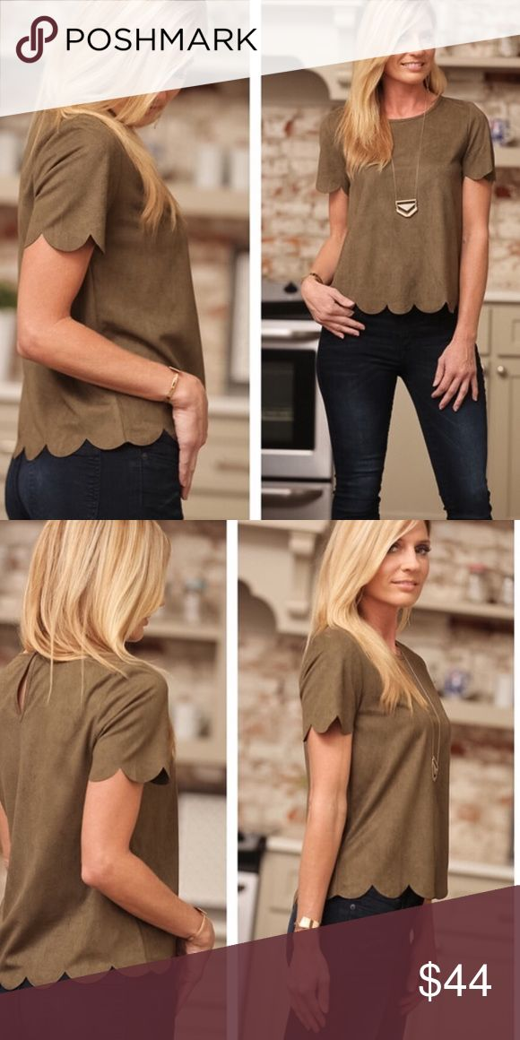Olive Suede Scalloped Top PRICE DROPPED This beautiful Olive Scallop Top is made of faux suede. It is perfect for anytime. Date night, dinner, work, out with the girls or anytime. It is truly stunning and even more gorgeous in person. You will fall in love with it. Infinity Raine Tops Blouses