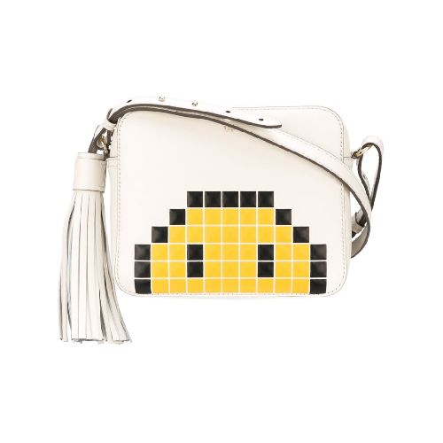 Chalk leather 'Smiley' crossbody bag from Anya Hindmarch. Size: OS. Color: Nude/neutrals. Gender: Female. Material: Bos Taurus.