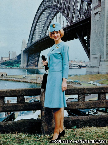 "Qantas Airways in the 1960s  The Qantas Airways flight attendant uniform from 1964 to 1969. The ""Swinging Sixties"" prompted airlines to take a more colorful approach to selecting crew uniforms."