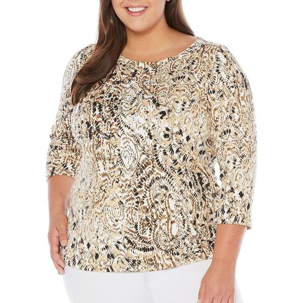 Rafaella Plus Women's Grommet Accented Printed Top ($35) ❤ liked on Polyvore featuring plus size women's fashion, plus size clothing, plus size tops, safari, white 3 4 sleeve top, rafaella tops, patterned tops, rafaella and white eyelet top
