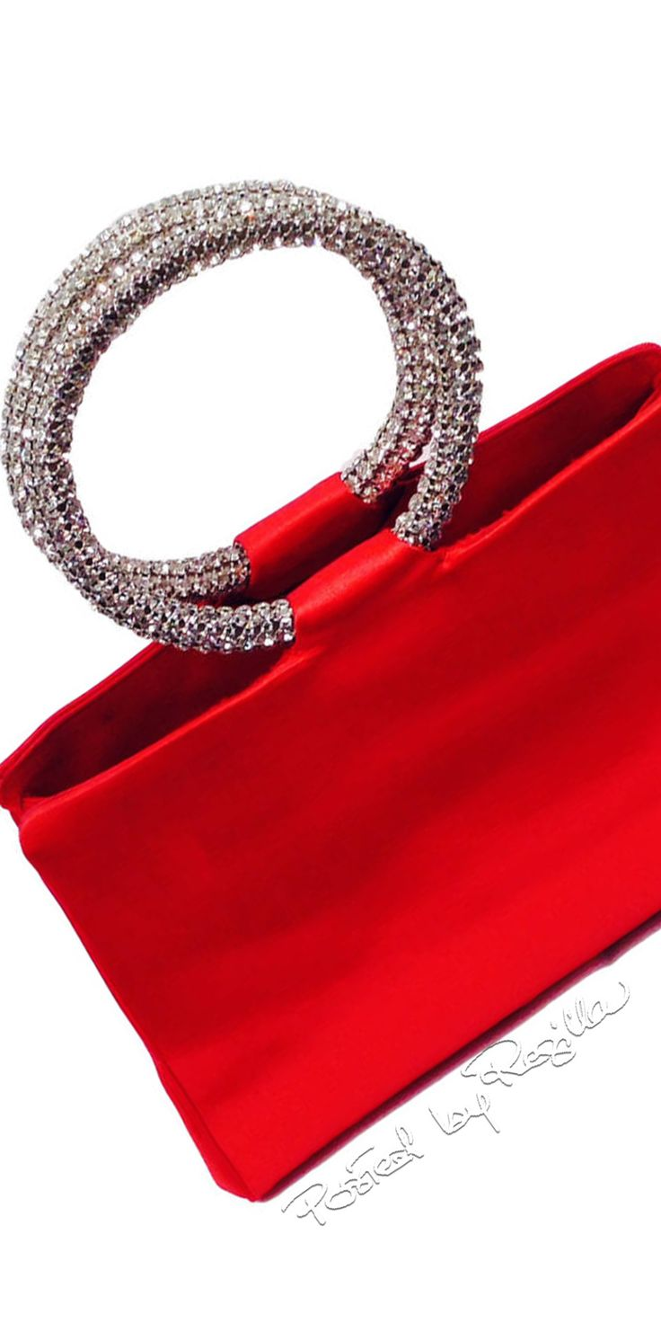 Regilla ⚜ Judith Leiber, Red Satin Evening Handbag With Swarovski Crystal