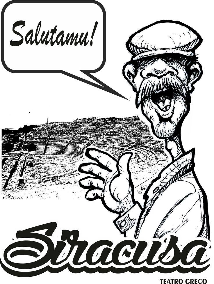 Tetro geco di Siracusa con caricatura del siciliano che augura un arrivederci