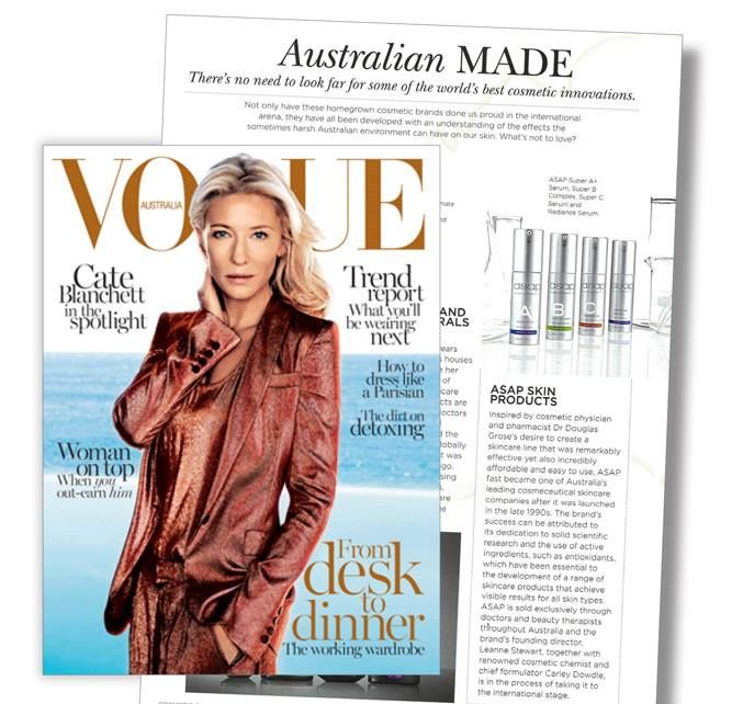 Skin Care Magazines: ASAP Skin Care Is Featured In Vogue Australia Magazine