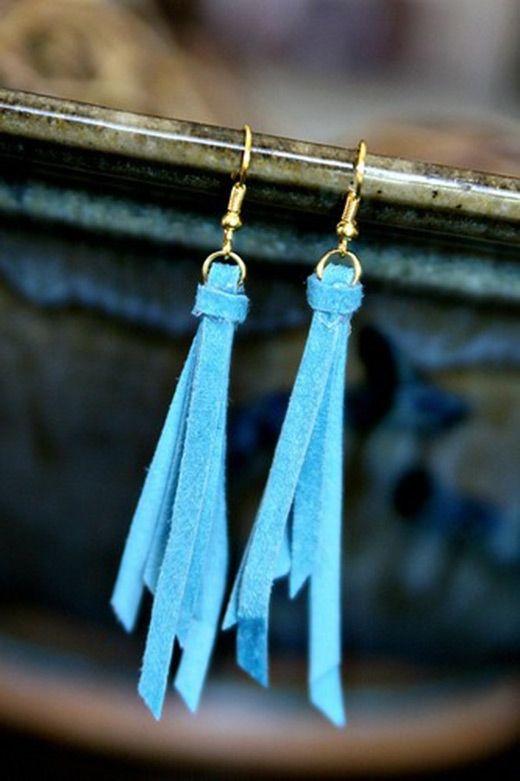 DIY leather tassel earrings--love them!
