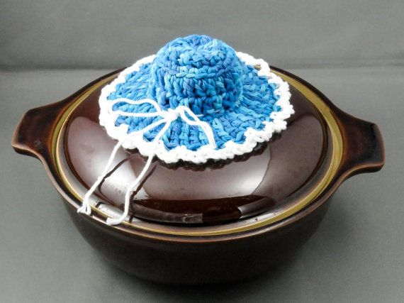 Pan Lid Holder, Crochet Pot Holder, Pot Handle Holder, Pan Lid Handle Hat, Casserole Holder, Blue and White Pot Lid Holder, Handle Hat