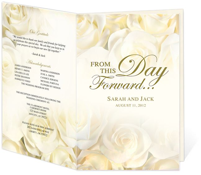 Ivory Roses Wedding Program Template edits in Word, OpenOffice, Publisher or Apple iWork Pages. Easy to create a professional looking program!
