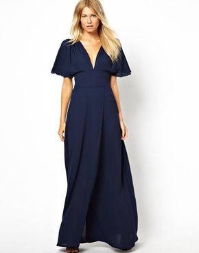 Love Maxi Dress With Plunge Neck And Fluted Sleeve