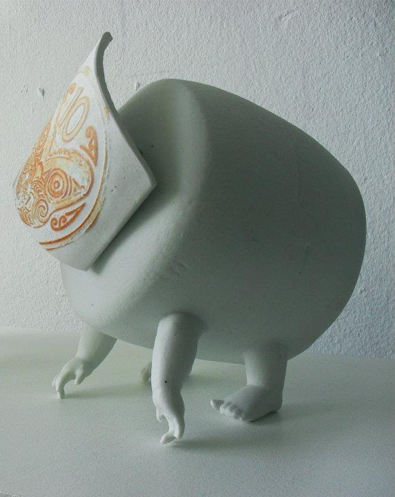 Slip cast porcelain, photocopy toner, zinc dyna bolts.
