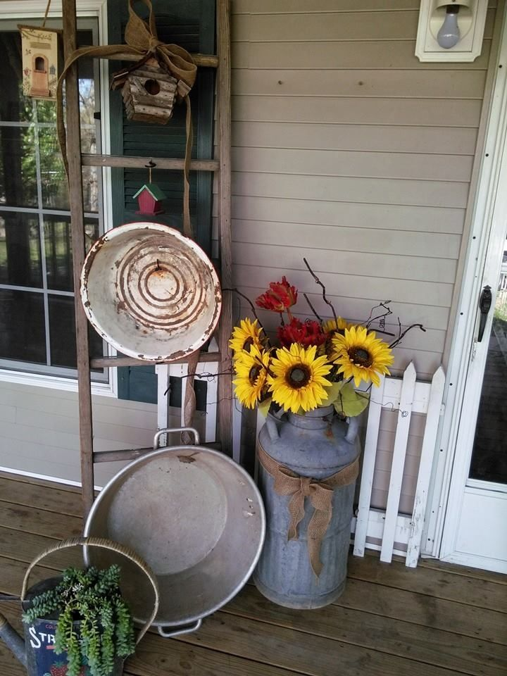 Old ladder milk jug and galvanized front door arrangement for Country porch coupon code