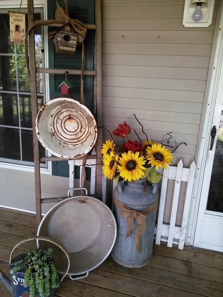 Old Ladder, Milk Jug and galvanized front door arrangement