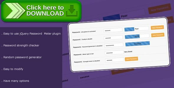 [ThemeForest]Free nulled download JPassword - jQuery Plugin from http://zippyfile.download/f.php?id=46947 Tags: ecommerce, checker, generator, JPassword, jquery, meter, password, strength, tooltip