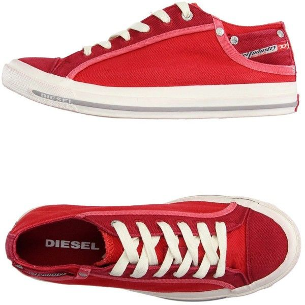 Diesel Low-tops & Trainers ($70) ❤ liked on Polyvore featuring shoes, sneakers, red, diesel trainers, red sneakers, low profile sneakers, diesel shoes and round toe sneakers