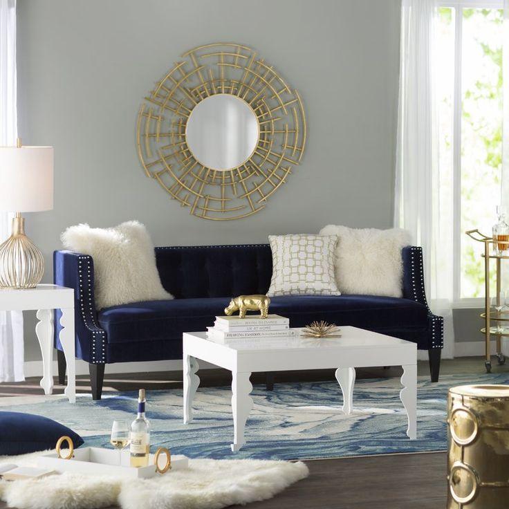 Tudor 35 5 Square Arm Sofa Blue And Gold Living Room Gold