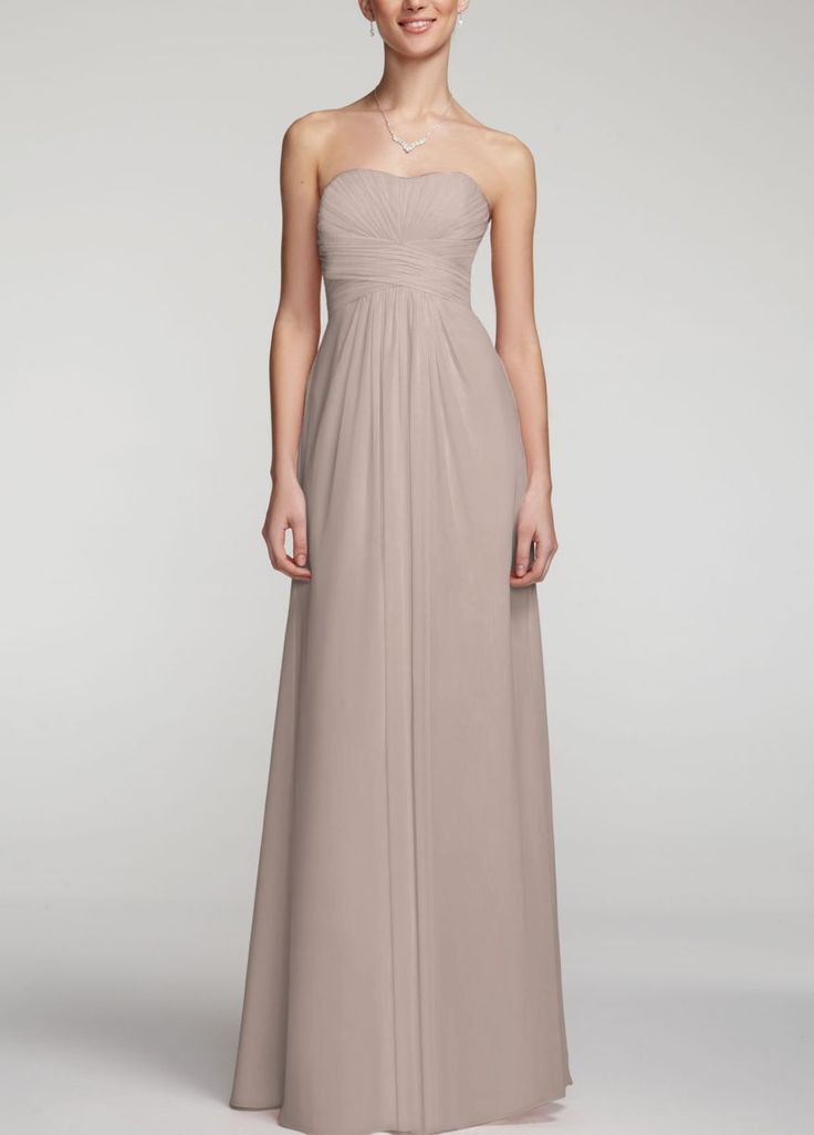 David's Bridal Long Strapless Chiffon Dress wPleated Bodice F15555 - Color: Biscotti