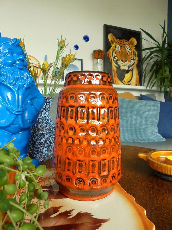 West Duits keramiek vaas aardewerk vaas mid century modern fat lava keramiek aardewerk retro vintage keramiek en aardewerk Scheurich vaas