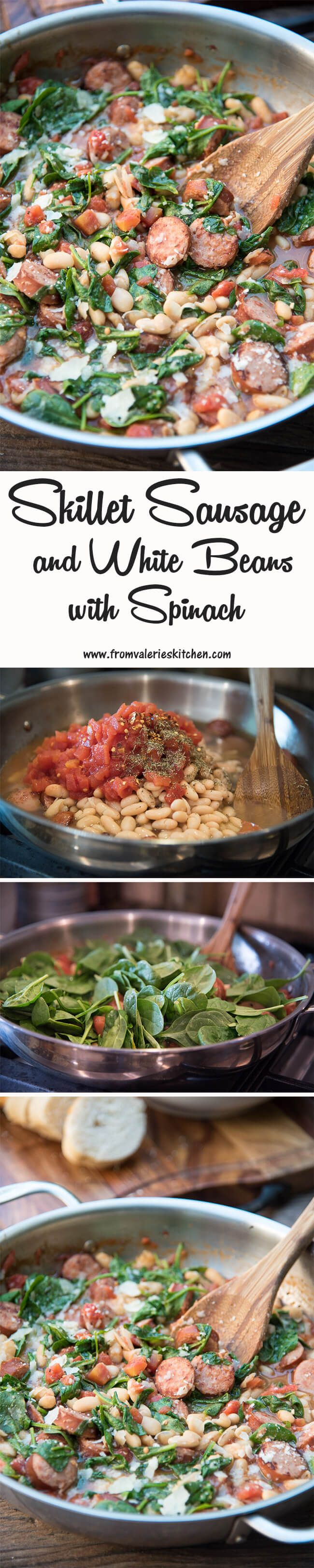 Skillet Sausage and White Beans with Spinach ~ http://www.fromvalerieskitchen.com