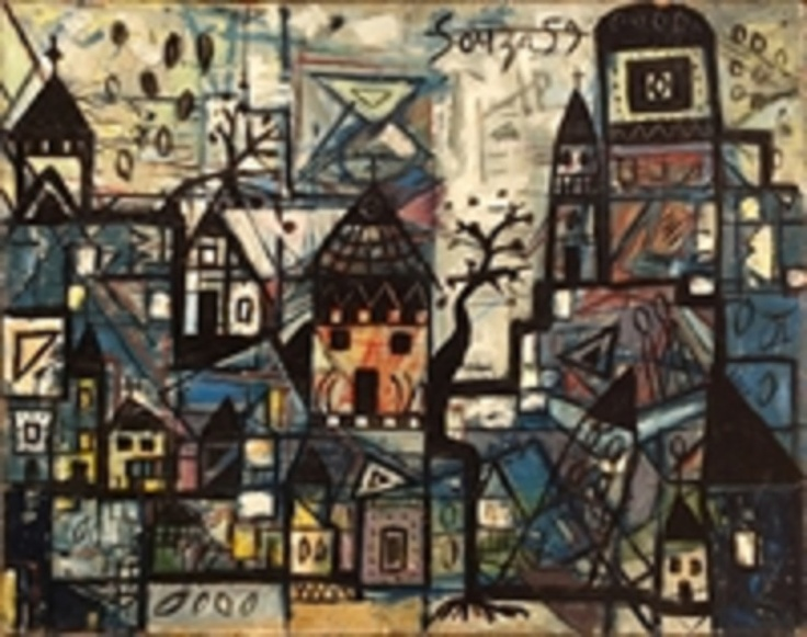 Francis Newtron Souza - Cityscape 1959 sold for 60k