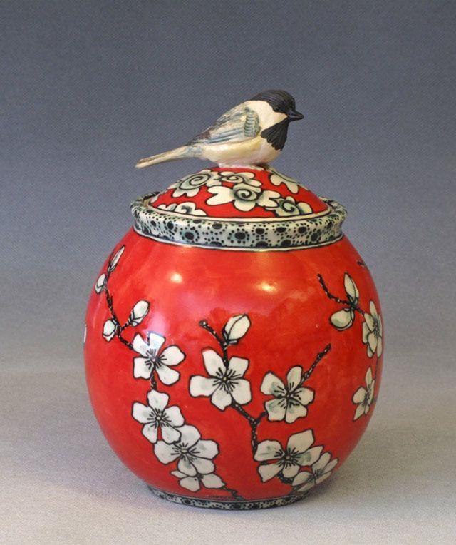 Chickadee jar ~ Deb Kuzyk, Ray Mackie, Lucky Rabbit Pottery.