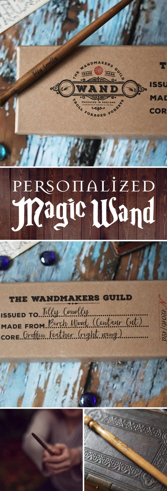 ADORABLE! This would make the perfect gift for the birthday girl or boy at a Harry Potter themed party. All of the details that were designed into the packaging, along with the personalization of the wand, make this such a thoughtful thing to give to a wizard or witch enthusiast. #magicwand #wand #wizard #witch #magic #halloween #halloweencostumes  #affiliate