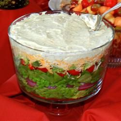 Seven Layer Salad - This is the one with parmesan in the dressing, but not garlic powder