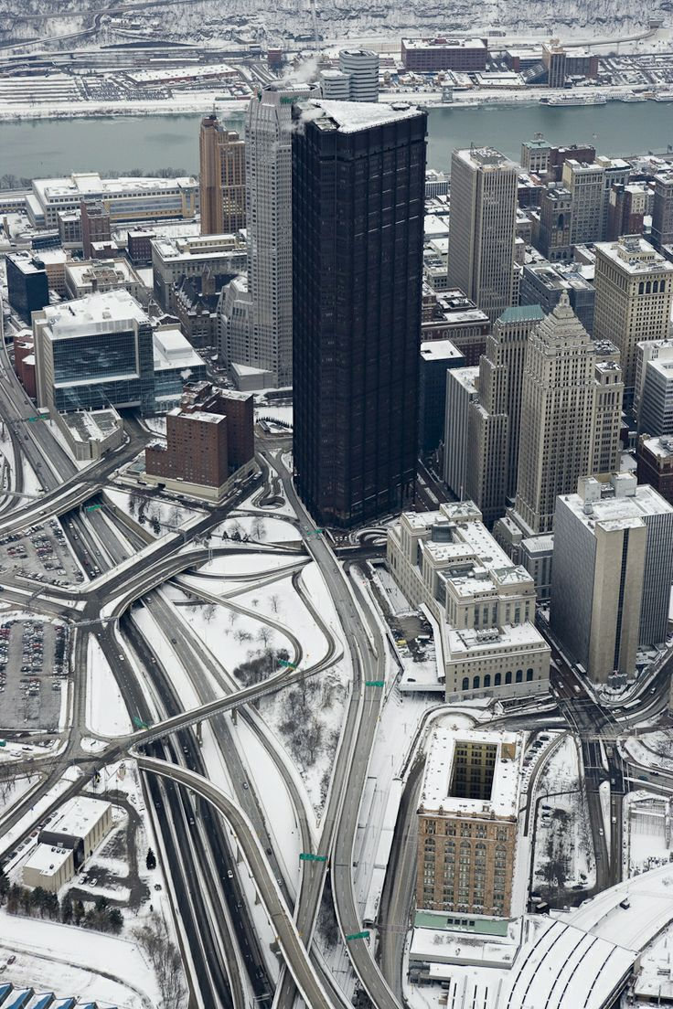 Snowy Pittsburgh - looked like this when I had to leave, miserable and sad, after every Christmas, just looking at this puts a lump in my throat.