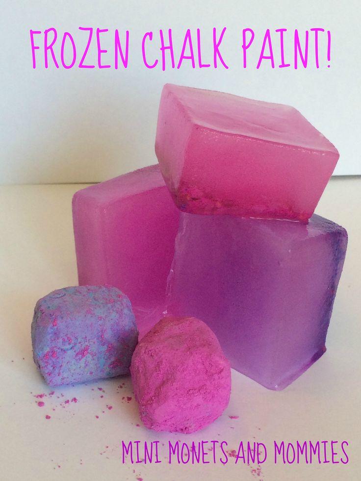 Frozen chalk finger paint art activity for kids!