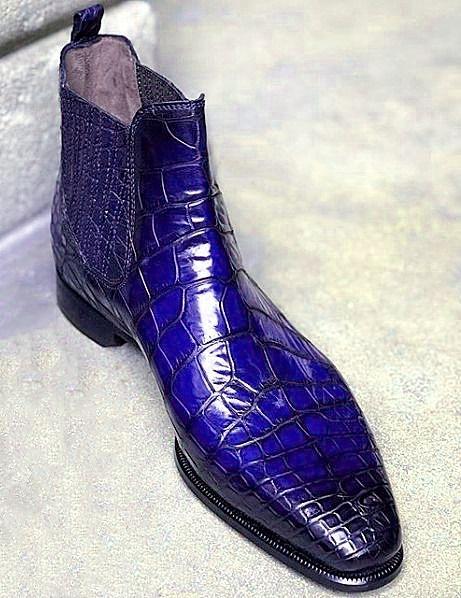 Botines Chelsea de cocodrilo artesanales clásicos para hombres   – Crocodile and Alligator Shoes