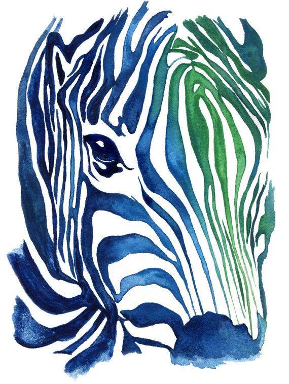 "Original Painting and Prints ""Aqua Zebra"" - Watercolor Painting by Naama Ben-Daat (Behance.net/ErgoNaama) - Watercolor Wall art Illustration"