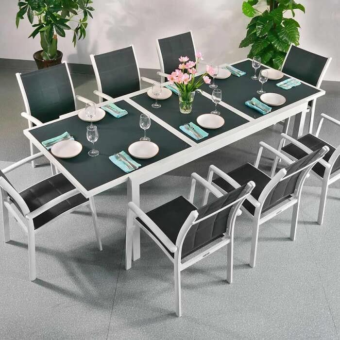 Florence Table - White & Grey 8 seater aluminium garden furniture set - Rectangular Tables - All Furniture