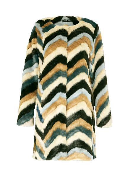 Chevalier Coat // Made from a unique zig-zag print faux fur, this Chevalier Coat features no collar and comes fully lined with side pockets. The oversized cut ensures it feels cozy and has a slouchy shape.