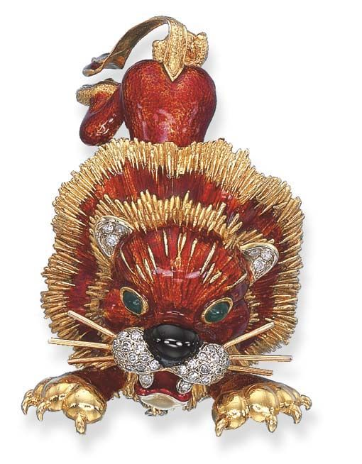 AN ENAMEL AND GEM-SET LION BROOCH, BY FRASCAROLO Designed as a crouching and roaring red enamel lion with chrysoprase eyes, black enamel nose and pavé-set diamond muzzle to the gold mane, paws and tail, mounted in 18k gold