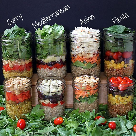Quinoa Salad-In-A-Jar in 4 Varieties!! This is the most clever and nutritious grab and go lunch I've ever seen!!! Get your veggie servings and a big dose of protein all in at lunch!