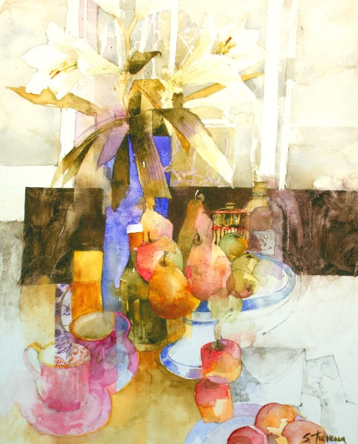 Shirley Trevena Table Top with Blue Vase - Watercolour 47 x 38 cm - SOLD