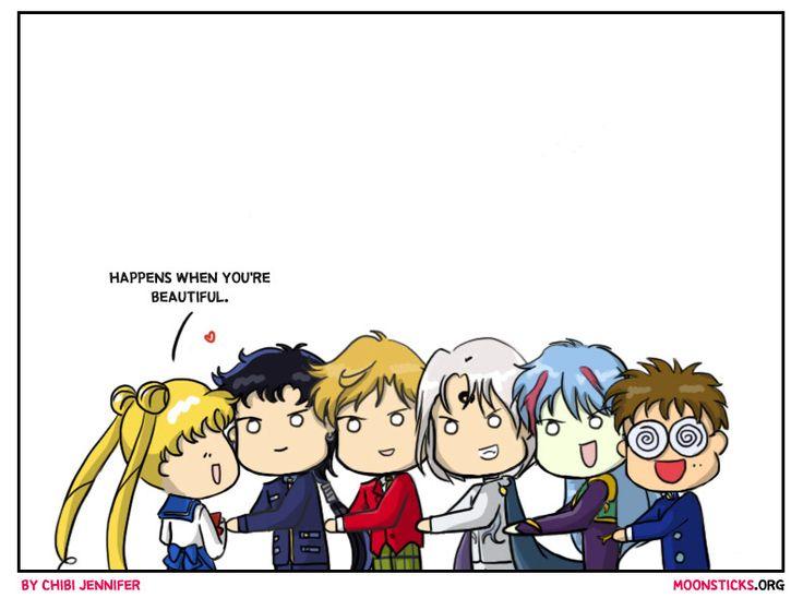 MoonSticks Sailor Moon Comic/Doujin #77 Watch out Mamo-chan! featuring Usagi/Sailor Moon, Seiya Kou, Haruka Tenou, Prince Demand, Ail and Umino/Melvin. All of Usagi's pursuer.