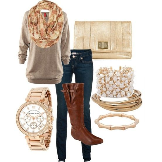 one of the only reasons I'm looking forward to winter - outfits like this!: Casual Friday, Fall Style, Comfy Casual, Winter Outfits, Gold Watches, Fall Fashion, Fall Outfits Ideas, Brown Boots, Classy Outfits